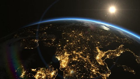 Sunrise over Europe. The European states from space. Clip contains earth, europe, sunrise, space, map, globe, satellite, planet, european, european union. Images from NASA.