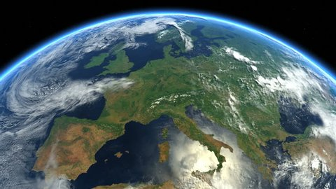 Europe, the European states from space. Clip contains earth, europe, rotation, space, map, globe, satellite, planet, european, european union. Images from NASA.