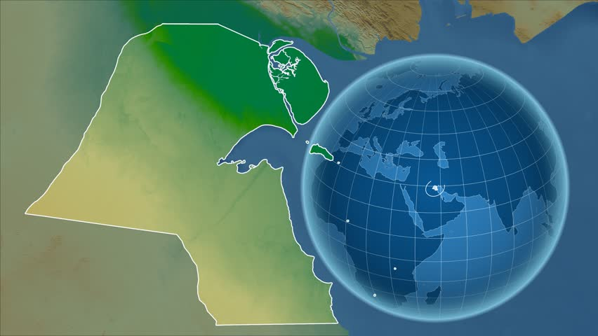 Kuwait Shape Animated On The Admin Map Of The Globe Stock Footage