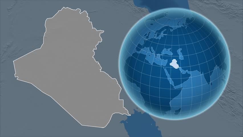 Iran Shape Animated On The Elevation Map Of The Globe Stock - Globe elevation