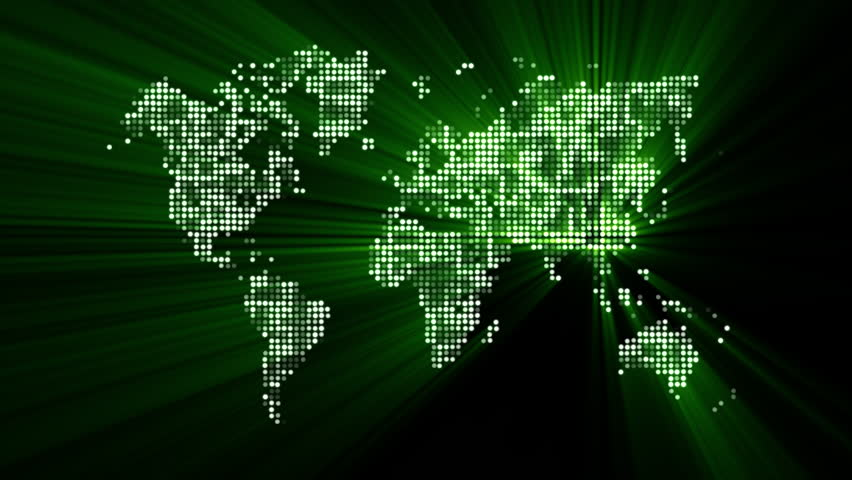 Loopable animated background of a map of the world made up of loopable futuristic green world map made of shiny dots with moving light rays sciox Image collections