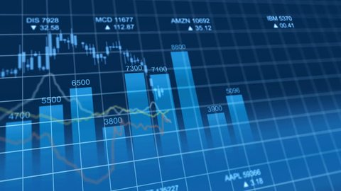 Bar graph of stock exchange market indices animation. Abstract animated 4k video background.