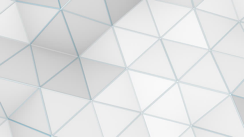 Low Poly Abstract Loop 1A: clean, modern, 3D soft moving triangles; white abstract polygon geometric backdrop with cool blue wireframe edge accents, UltraHD and FullHD and seamlessly loop-able