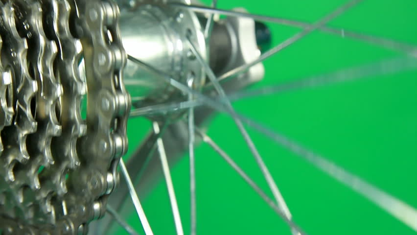 close up of hub wheel rotating with shift change gear on green screen