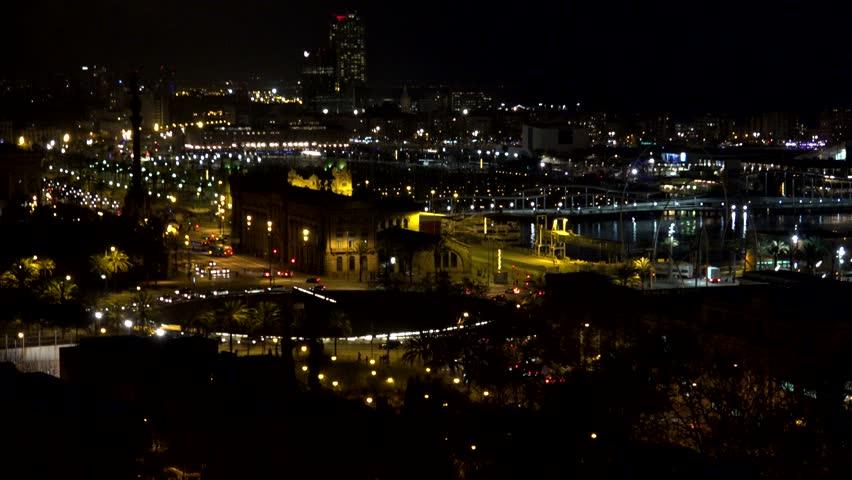 BARCELONA - SPAIN, APRIL 6, 2015, 4K Timelapse of traffic street in Port Vell by night  | Shutterstock HD Video #14738707