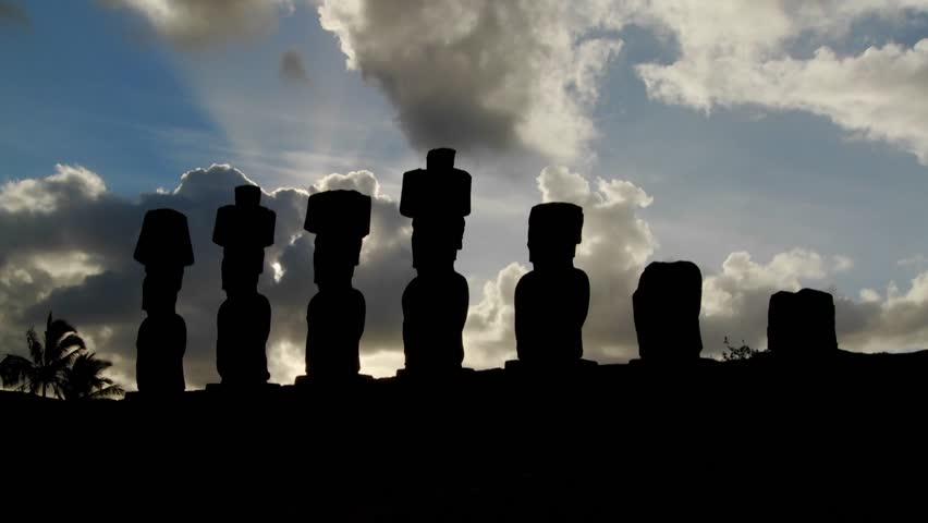 Clouds lend an air of mystery to the amazing statues at Easter Island.
