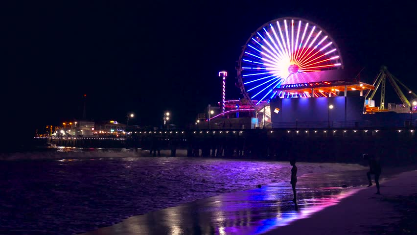 Illuminated Santa Monica Pier Night Purple Ferris Wheel Water Beach Nature California Sea Timelapse Los Angeles Tourism Travel Destination Sky Stock Footage