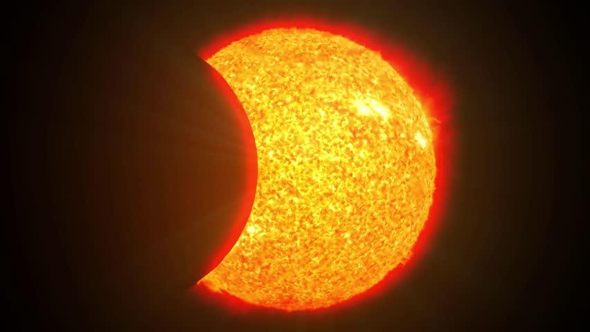 Solar eclipse sun moon planet earth space cosmic system 4k | Shutterstock HD Video #14770087