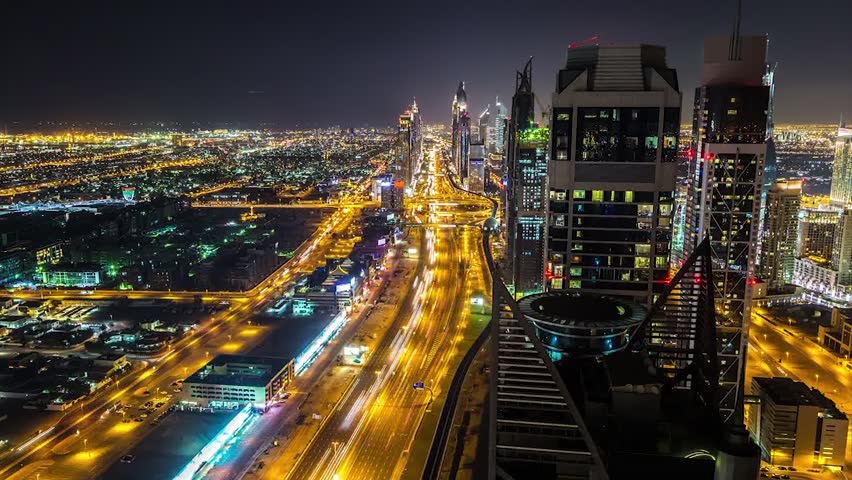 Timelapse aerial view of downtown Dubai at night, United Arab Emirates. Time lapse video | Shutterstock HD Video #14773717