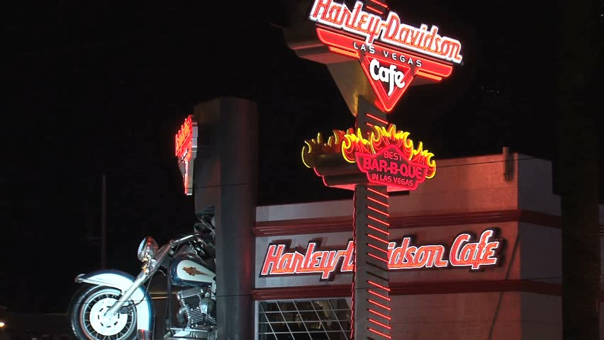 LAS VEGAS, NEVADA - CIRCA OCTOBER 2010: Harley Davidson sign in Las Vegas skyline.