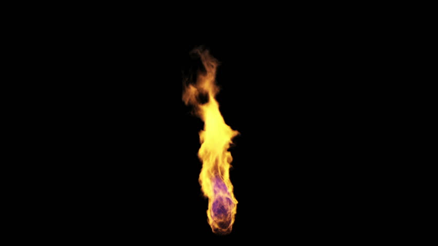 Vertical Single Torch Flame on Black Background Isolated