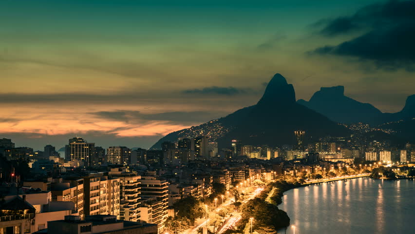 Sunset over Rio De Janeiro Mountains, Brazil. Timelapse with vintage colors | Shutterstock HD Video #14846137