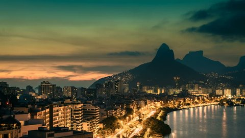 Sunset over Rio De Janeiro Mountains, Brazil. Timelapse with vintage colors