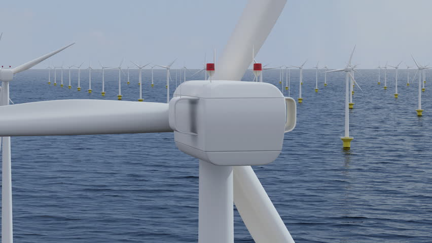 Camera rotates around a single wind turbine in an offshore wind farm. Seamless loop.