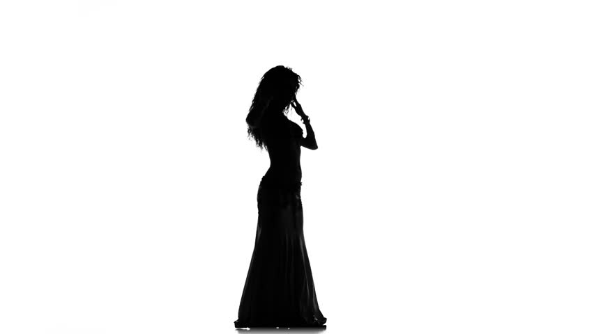 Talanted long-haired exotic belly dancer girl go on dance on white, silhouette