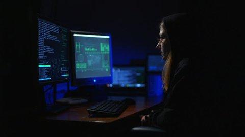A Girl Hacker at the Computer