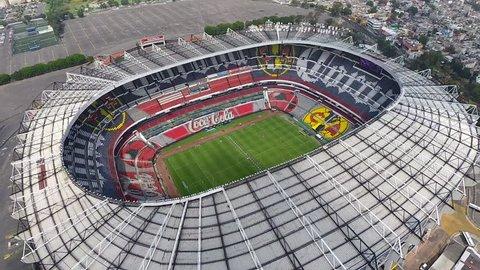 MEXICO - CIRCA 2015. Aerial top of view of the Estadio Azteca's Court