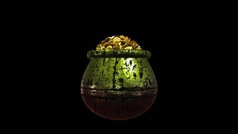 St Patrick Shamrock and Golden coins St Patrick Day symbols pot of gold Alpha channel