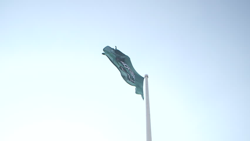 Saudi Arabian Flag. Worm's eye view of the Saudi flag against a blue sky. The flag billows in the breeze in slow motion.