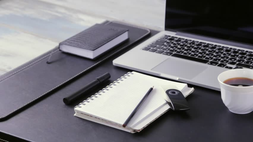 Workspace Work Desktop Black And White Business Stylish