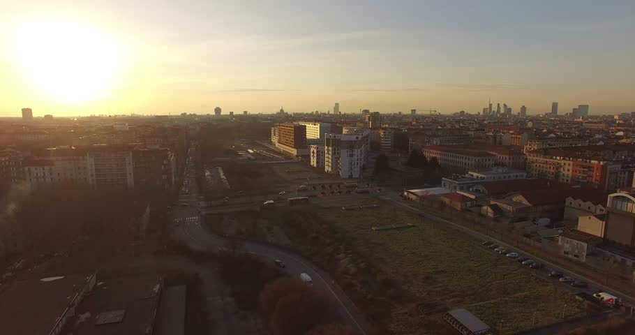MILAN // City Sunset // Aerial Footage - Riprese Aeree // 4K