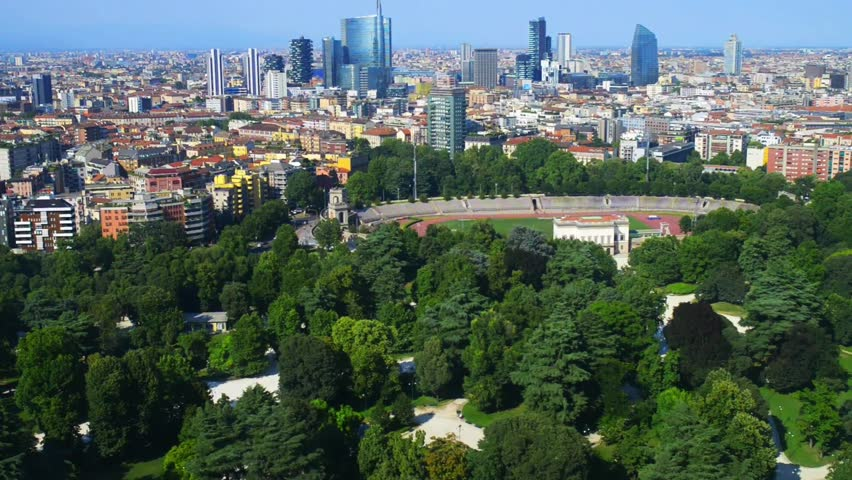 Milan aerial view, the second-most populous city in Italy, serves as the capital of Lombardy.