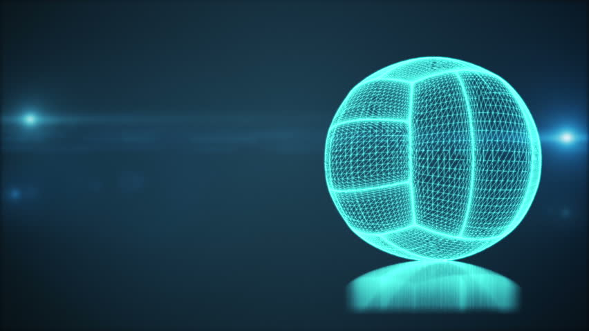 Background Abstract Sport Volleyball Blue Yellow Ball: Spinning Wireframe Hologram Blue Baseball Loop Stock