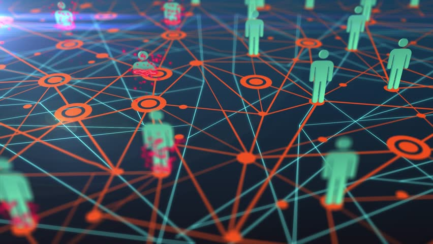 3D animation of people network or multi level marketing (MLM) map perishing until entire network is gone or bankrupt in business failure concept in 4k ultra HD