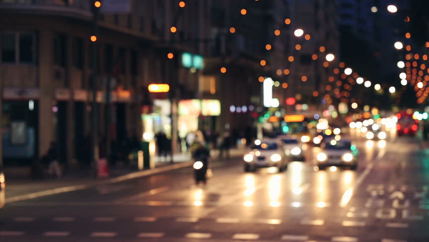 Background with blurry unfocused city lights and driving cars. Gran Via Murcia - HD & Abstract Bright Blurred Background With Raindrop Asphalt ... azcodes.com