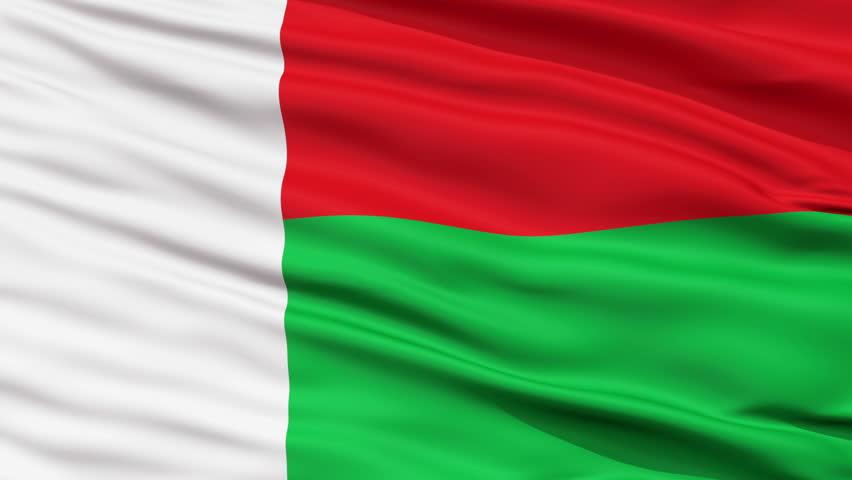 Madagascar Flag Close Up Realistic Animation Seamless Loop - Madagascar flag