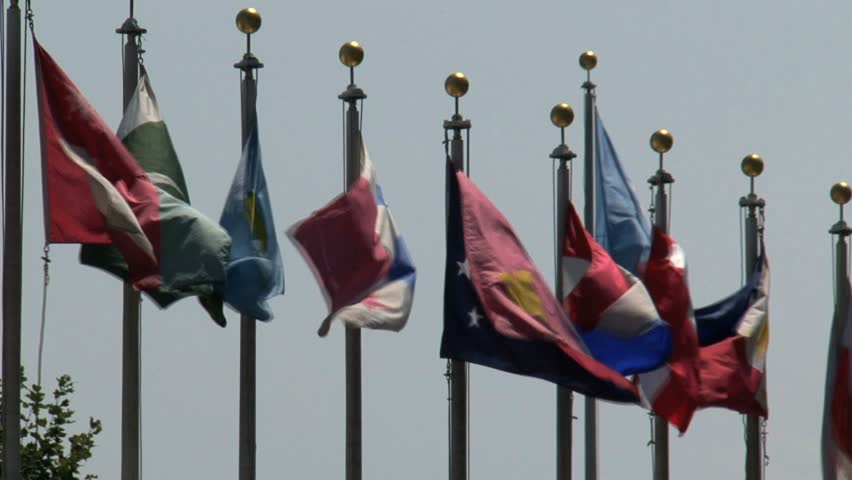 Flags at the United Nations, New York City.