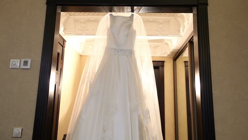 Elegant Wedding Dress Hanging in Stock Footage Video (100 ... d43f3637f