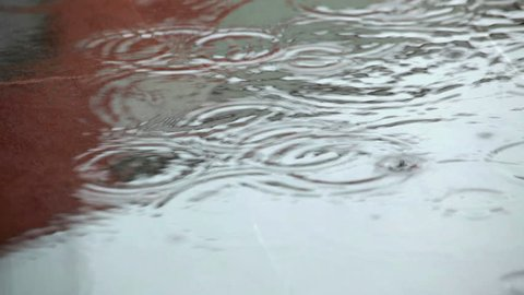 Rain falling in the city; raindrops crating small puddle; no people; on site sound;