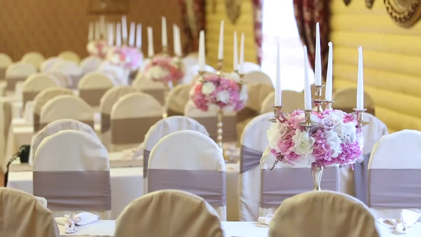 reception hall decorations. decoration of the banquet hall  HD stock video clip Interior Of A Wedding Hall Decoration Ready For Guests Beautiful