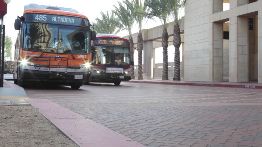 LOS ANGELES - March 10, 2016: Close up of the bus driving by LA Union Station terminal