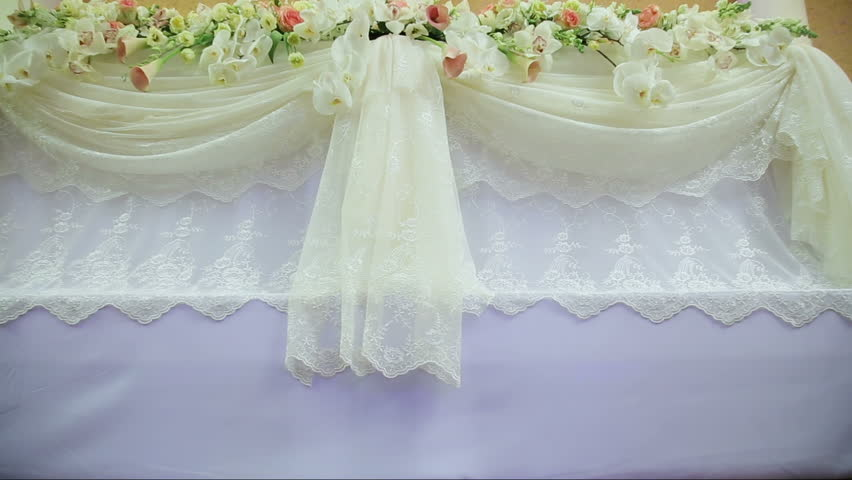 Wedding decorations with flowerserior of a wedding hall beautiful room for ceremonies and weddingsding conceptxury stylish wedding reception purple decorations stock footage video 15140767 shutterstock junglespirit Gallery