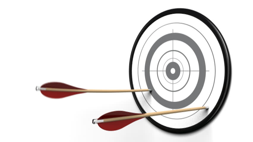 4 arrows hitting the border of a target, one arrow reach the center of the dart