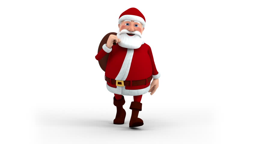 Cartoon Santa Claus with gift bag walking on the spot - front view - high quality 3d animation