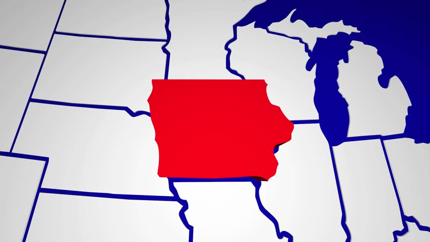 Iowa Animated Map Video Starts With Light Blue USA National Map - Iowa state in usa map