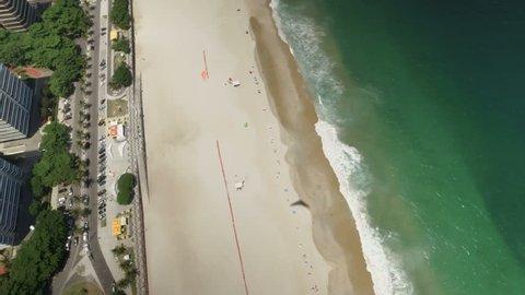 Hang gliding flight above the beach in Rio De Janeiro, Brazil.