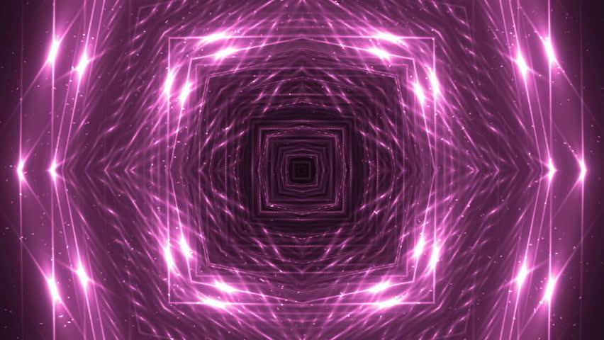 VJ Fractal pink kaleidoscopic background. Background magenta motion with fractal design. Disco spectrum lights concert spot bulb. Light Tunnel. #15231547