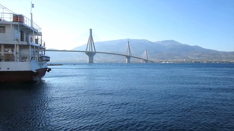 Departure and bridge 1                                             Travelling along the suspension bridge in Rio-Antirrio, Greece