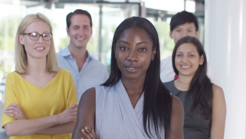 4K Portrait of cheerful smiling business team in modern office building | Shutterstock HD Video #15262927
