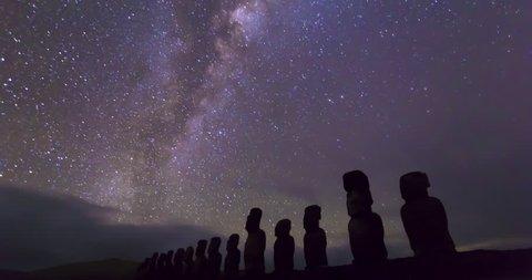 Isla de Pascua, Easter Island, Rapa Nui, Tima-Lapse, Night, Stars