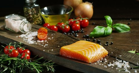 nice and colored italian food composition of salmon and genuine and fresh ingredients for diet and low calories in gym and fitness world. salmon healthy diet and hight proteins diets for food