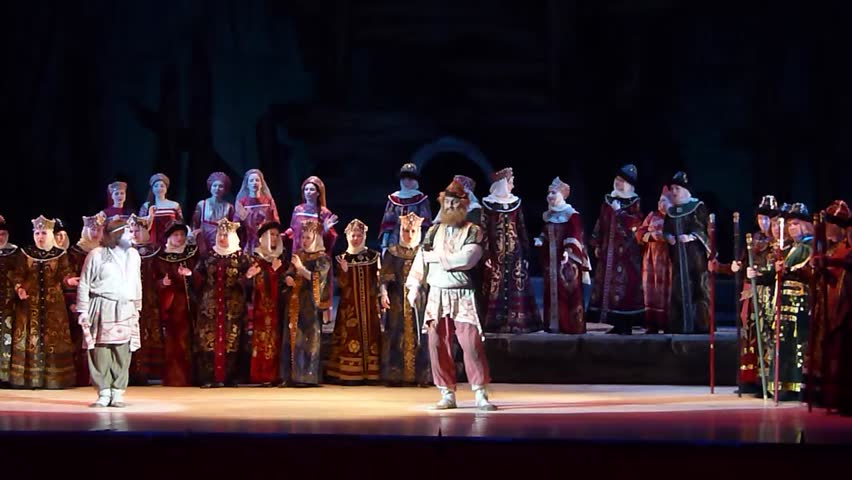 DNIPROPETROVSK, UKRAINE - MARCH 13, 2016: Prince Igor opera performed by members of the Dnipropetrovsk Opera and Ballet Theatre.