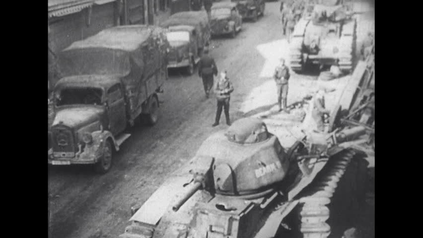 EUROPE 1940s German Troops Arrive in France - HD stock video clip & 1940s: Children Suffer Illnesses In A Hospital Breathing In An ...