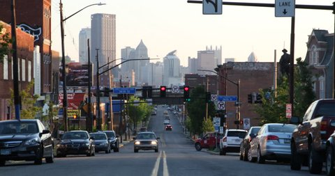 Pittsburgh skyline from Penn Avenue in the Strip District. / Pittsburgh, PA - USA, May, 2015