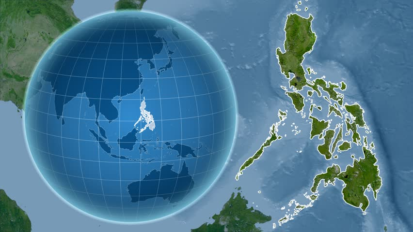 Night To Day Rotating Earth Zoom In On Philippines Outlined - World map satellite view video