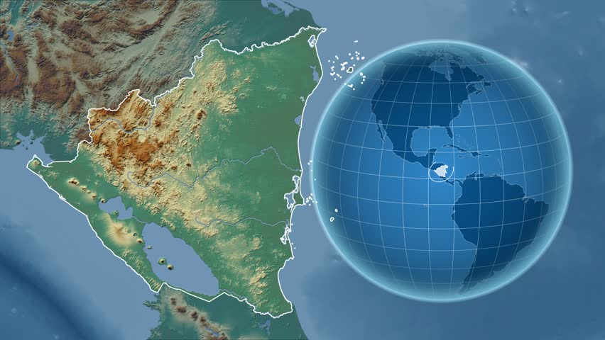 Nicaragua Shape Animated On The Physical Map Of The Globe Stock